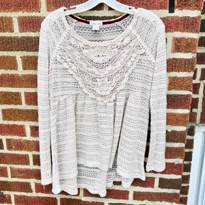 Clover +Scout Luxury Boho Knit Lace Sweater Blouse